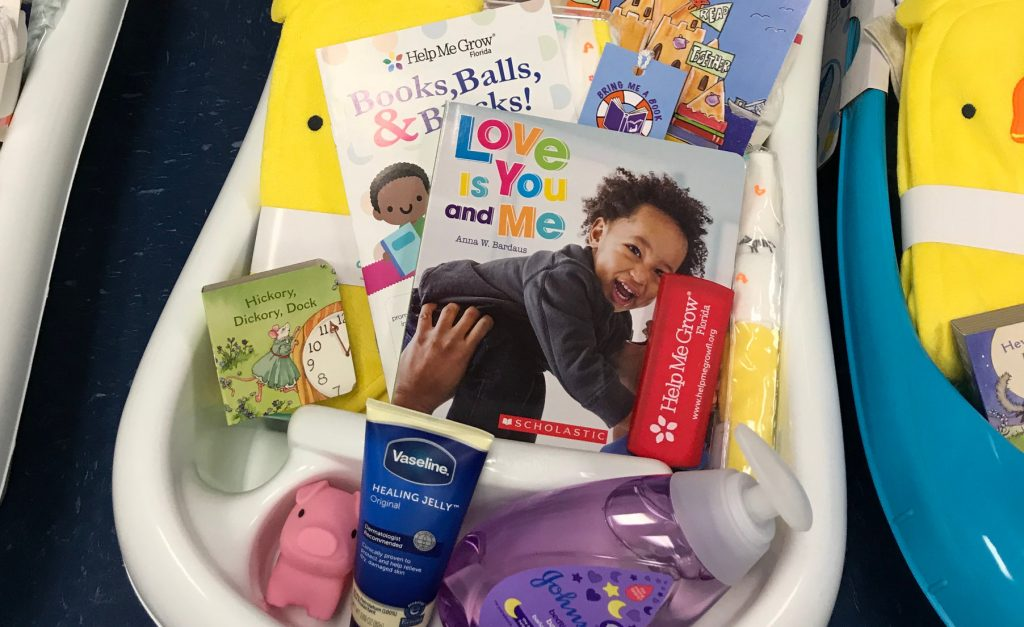 bath tub of goodies for healthy start shower